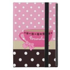 Girly Teacup Pink And Brown Polka Dot Bow And Name Ipad Mini Cover at Zazzle