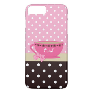 Girly Teacup Pink and Brown Polka Dot Bow and Name iPhone 8 Plus/7 Plus Case