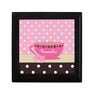 Girly Teacup Pink and Brown Polka Dot Bow and Name Keepsake Box