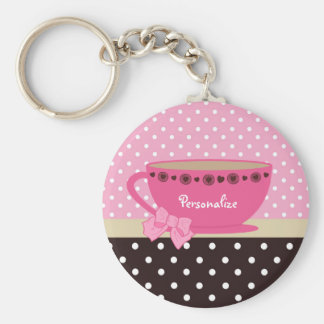 Girly Teacup Pink and Brown Polka Dot Bow and Name Keychain