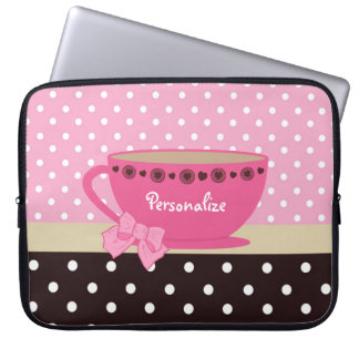 Girly Teacup Pink and Brown Polka Dot Bow and Name Laptop Sleeve