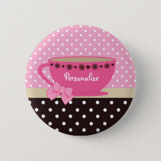 Girly Teacup Pink and Brown Polka Dot Bow and Name Pinback Button