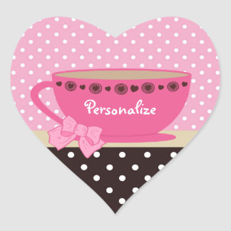Girly Teacup Pink And Brown Polka Dots Heart Sticker