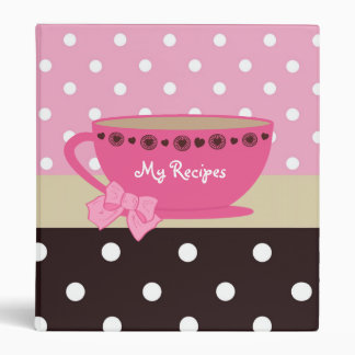 Girly Teacup Recipes Pink And Brown Polka Dots 3 Ring Binders
