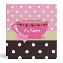 Girly Teacup Recipes Pink And Brown Polka Dots Binder