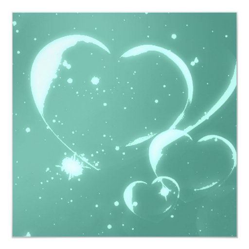 Girly Teal Abstract Hearts Pattern Splatter Card