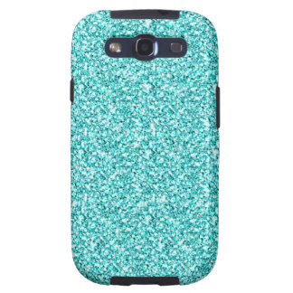GIRLY TEAL AQUA BLUE GLITTER PRINTED SAMSUNG GALAXY S3 COVER