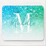 "Girly Teal Aqua Blue Glitter Sparkle Monogram Name Mouse Pad<br><div class=""desc"">Personalized Teal Aqua Blue  Glitter Sparkle White Monogram Script Name. Elke Clarke © Customize it with your name and monogram for a chic girly unique design for your home office. Accessorize your desk.</div>"