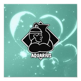 Girly Teal Aquarius Zodiac Sign Hearts Pattern Card