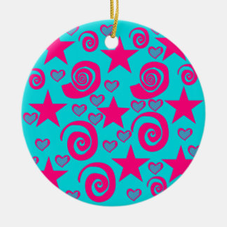 Girly Teal Blue Hot Pink Stars Hearts Swirls Ceramic Ornament