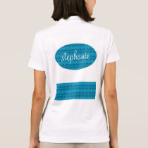 Girly Teal Blue Lacy Pattern Custom Name Z02 Polo Shirt