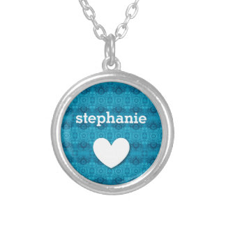 Girly Teal Blue Lacy Pattern Custom Name Z02 Silver Plated Necklace