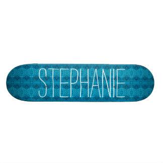 Girly Teal Blue Lacy Pattern Custom Name Z02 Skateboard Deck