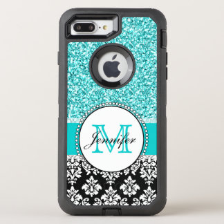 Girly, Teal, Glitter Black Damask OtterBox Defender iPhone 7 Plus Case