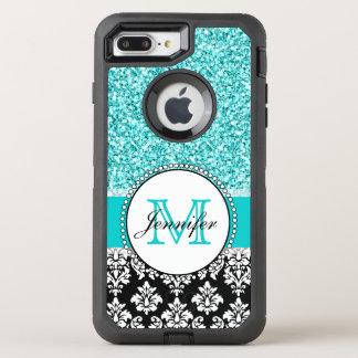 Girly, Teal, Glitter Black Damask OtterBox Defender iPhone 7 Plus Case