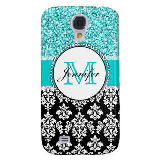 Girly Teal Glitter Black Damask Personalized