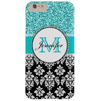 Girly, Teal, Glitter Black Damask Personalized Barely There iPhone 6 Plus Case