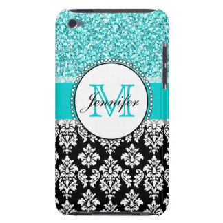 Girly, Teal, Glitter Black Damask Personalized iPod Touch Cover