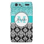 Girly, Teal, Glitter Black Damask Personalized Droid RAZR Covers