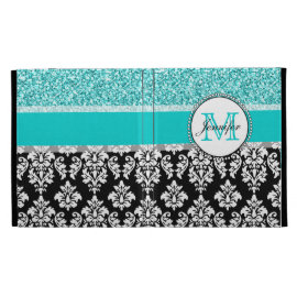 Girly, Teal, Glitter Black Damask Personalized iPad Folio Case