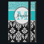 """Girly, Teal, Glitter Black Damask Personalized Case For iPad Mini<br><div class=""""desc"""">Girly,  teal glitter printed,  black and white damask you can personalize with your monogram initial and your name. A cute monogrammed design for her. Glitter is a PRINTED photo effect. Damask Gallery&#169; Other colors and styles available in our shop at www.zazzle.com/DamaskGallery*</div>"""