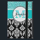 "Girly, Teal, Glitter Black Damask Personalized Case For iPad Mini<br><div class=""desc"">Girly,  teal glitter printed,  black and white damask you can personalize with your monogram initial and your name. A cute monogrammed design for her. Glitter is a PRINTED photo effect. Damask Gallery&#169; Other colors and styles available in our shop at www.zazzle.com/DamaskGallery*</div>"