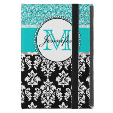 Girly, Teal, Glitter Black Damask Personalized Case For Ipad Mini at Zazzle