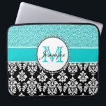 "Girly, Teal, Glitter Black Damask Personalized Computer Sleeve<br><div class=""desc"">Girly,  teal glitter printed,  black and white damask you can personalize with your monogram initial and your name. A cute monogrammed design for her. Glitter is a PRINTED photo effect. Damask Gallery&#169; Other colors and styles available in our shop at www.zazzle.com/DamaskGallery*</div>"