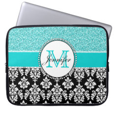 Girly, Teal, Glitter Black Damask Personalized Computer Sleeve at Zazzle