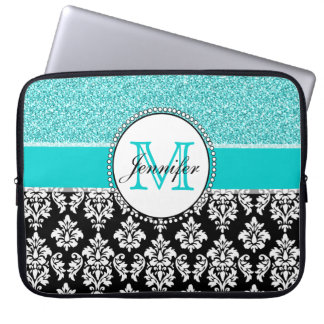 Girly, Teal, Glitter Black Damask Personalized Computer Sleeve