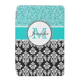 Girly Teal Glitter Black Damask Personalized iPad Mini Cover