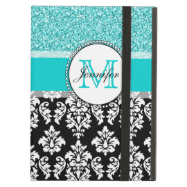 Girly, Teal, Glitter Black Damask Personalized iPad Cover