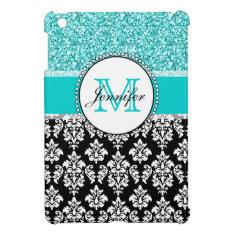 Girly, Teal, Glitter Black Damask Personalized Ipad Mini Cover at Zazzle