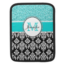 Girly, Teal, Glitter Black Damask Personalized iPad Sleeve