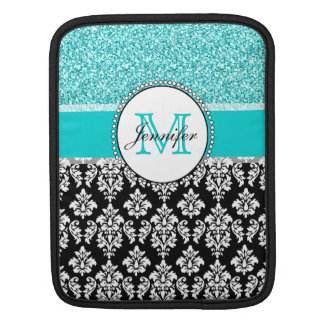 Girly, Teal, Glitter Black Damask Personalized iPad Sleeve