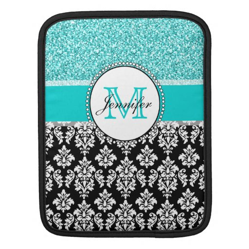 Girly, Teal, Glitter Black Damask Personalized Sleeves For iPads