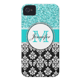 Girly, Teal, Glitter Black Damask Personalized iPhone 4 Cover