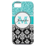 Girly, Teal, Glitter Black Damask Personalized iPhone 5 Covers