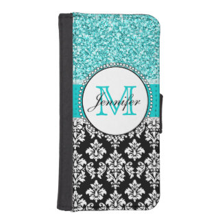 Girly, Teal, Glitter Black Damask Personalized iPhone 5 Wallets