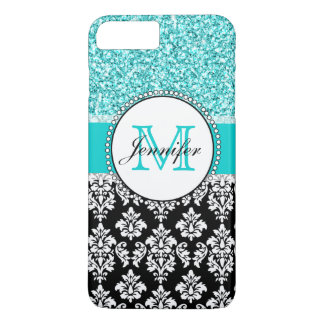 Girly, Teal, Glitter Black Damask Personalized iPhone 7 Plus Case