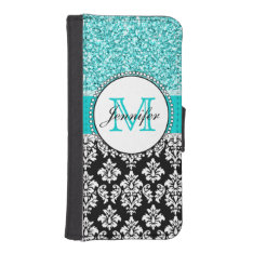 Girly, Teal, Glitter Black Damask Personalized iPhone SE/5/5s Wallet Case at Zazzle