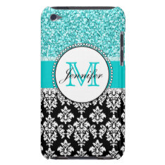 Girly, Teal, Glitter Black Damask Personalized Ipod Touch Case-mate Case at Zazzle