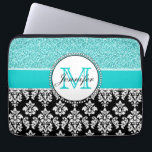 "Girly, Teal, Glitter Black Damask Personalized Laptop Sleeve<br><div class=""desc"">Girly,  teal glitter printed,  black and white damask you can personalize with your monogram initial and your name. A cute monogrammed design for her. Glitter is a PRINTED photo effect. Damask Gallery&#169; Other colors and styles available in our shop at www.zazzle.com/DamaskGallery*</div>"