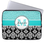 Girly, Teal, Glitter Black Damask Personalized Laptop Sleeve<br><div class='desc'>Girly,  teal glitter printed,  black and white damask you can personalize with your monogram initial and your name. A cute monogrammed design for her. Glitter is a PRINTED photo effect. Damask Gallery&#169; Other colors and styles available in our shop at www.zazzle.com/DamaskGallery*</div>