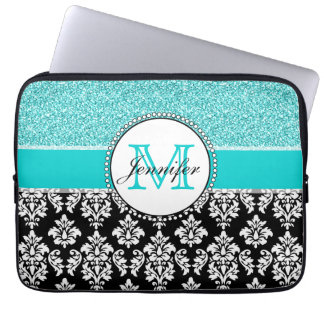 Girly, Teal, Glitter Black Damask Personalized Laptop Sleeves
