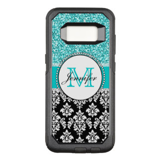 Girly, Teal, Glitter Black Damask Personalized OtterBox Commuter Samsung Galaxy S8 Case