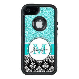 Girly, Teal, Glitter Black Damask Personalized OtterBox Defender iPhone Case