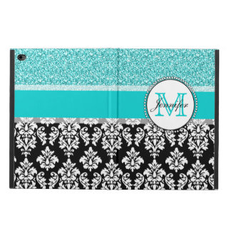 Girly, Teal, Glitter Black Damask Personalized Powis iPad Air 2 Case