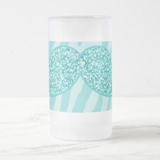 GIRLY TEAL GLITTER MUSTACHE ZEBRA STRIPES FROSTED GLASS BEER MUG