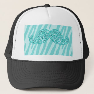 GIRLY TEAL GLITTER MUSTACHE ZEBRA STRIPES TRUCKER HAT